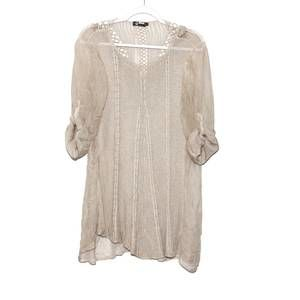 M Made in Italy Sheer tunic roll tab sleeve Size S